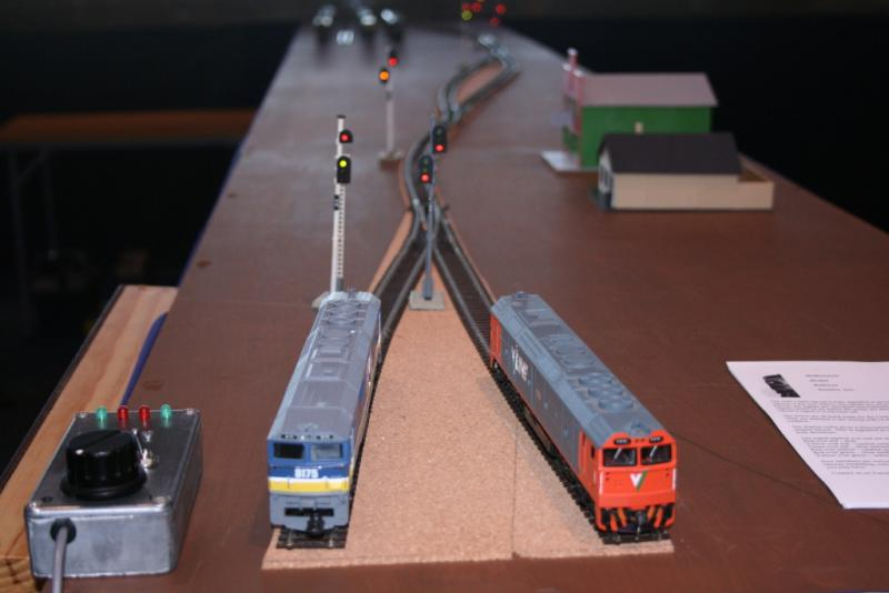 A higher view of the public end of the layout.  More signals can be seen in their active states